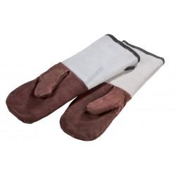 Sütőkesztyű pár, puha bőr, pamut béléssel, 450x150 mm, hőálló 250 °C-ig