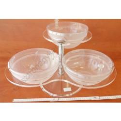 Jamtartó állvány+3 db polikarbonát tál fedővel 54x50x30 cm