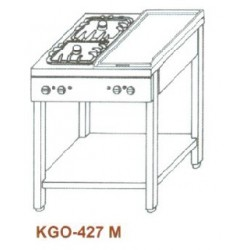 Gáz Főzőasztal, 4 égő, 1 rács + 1 sima v. bordás sütőlappal KGO-427 M 3