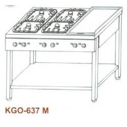 Gáz Főzőasztal, 6 égő, 2 ráccsal + 1 melegítőlappal KGO-637 M 2