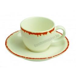 Siena kávéscsésze és alj, 90 ml, narancs színű peremmel, porcelán