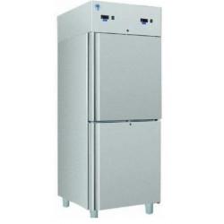 Teleajtós, kétlégterű hűtőszekrény 330+330 literes rozsdamentes külsővel