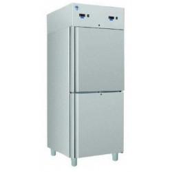 Teleajtós, kombinált hűtő-,fagyasztó szekrény 700 literes rozsdamentes külsővel
