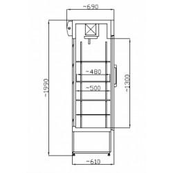 Üvegajtós hűtővitrin Inox 400 literes