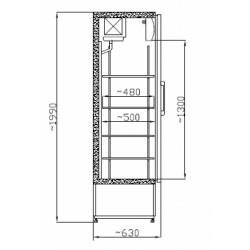 Üvegajtós hűtővitrin Inox bruttó 600 literes