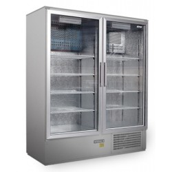 Üvegajtós hűtővitrin Inox bruttó 800 literes