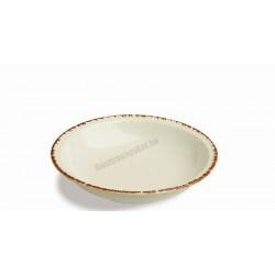 Siena mélytányér, 21 cm, narancs színű peremmel, porcelán