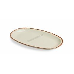 Siena ovális sültestál, 26x16 cm, narancs színű peremmel, porcelán