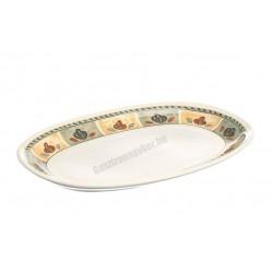 Siena ovális sültestál, 34x22 cm, kiskakas dekorral, porcelán