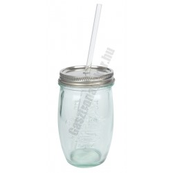 Zöld pohár 450 ml+tető+szívószál, üveg