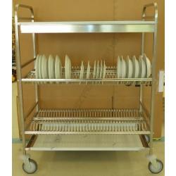 Tányércsepegtető kocsi, 3 szintes, 2 szint tányér (120 db 160-260 mm), 1 szint felül pohár, 1100×620×1340