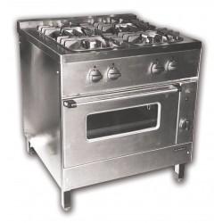 Gáztűzhely, 4 égő+GN2/1sütő 2 ráccsal NGT-800