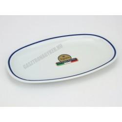 Gasztro ovális retro palacsintástányér, 26x16 cm, kék csíkos,porcelán