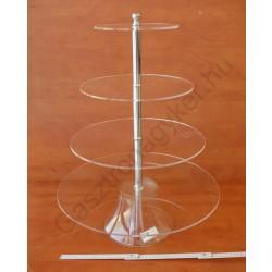 Süteményes állvány 4 szintes, 49-33-24×63 cm, kerek, akril
