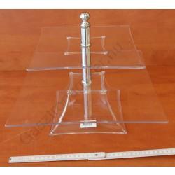 Kínáló állvány 2 emeletes, 35-25×29 cm, szögletes, átlátszó, polikarbonát