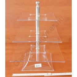 Kínáló állvány 3 emeletes, 30-25-20×39 cm, szögletes, átlátszó, polikarbonát