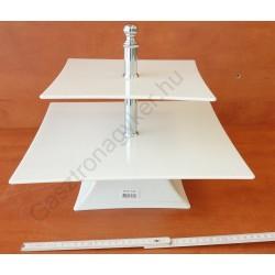 Kínáló állvány 2 emeletes, 35-25×29 cm, szögletes, fehér, polikarbonát
