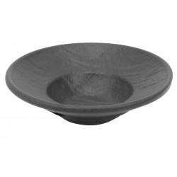 Vulcania fekete mély gourmet tányér 10 cm, porcelán