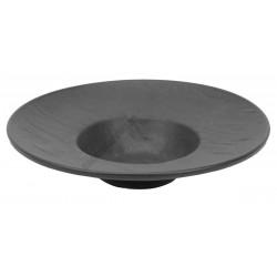Vulcania fekete mély gourmet tányér 24 cm, porcelán
