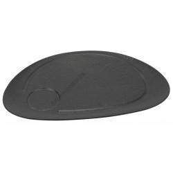 Vulcania fekete ovális steak tányér, 37×25 cm, porcelán