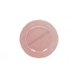 Vecchio Vienna lapostányér, 22 cm, rózsaszín porcelán