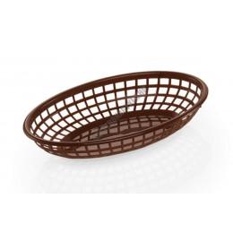 Kenyérkosár, ovális, 23,5x14,5x4,5 cm, barna, műanyag