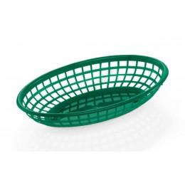 Kenyérkosár, ovális, 23,5x14,5x4,5 cm, zöld, műanyag