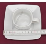 Victoria kávéscsésze+alj 80 ml, szögletes, porcelán