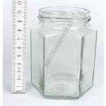 Hatszögletes díszüveg 284 ml-es tető nélkül 20db/cs