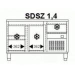 Hűtött munkaasztal 1 ajtóval 3 fiókkal 1462×700×850 mm SDSZ 1,4