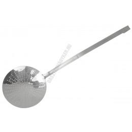 Szűrőkanál, kiszedőkanál, kerek, lyukas, 24×80 cm, rozsdamentes