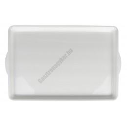 Műanyag füles tálca, nagy méret, 43×28 cm, fehér,